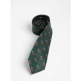 Christmas Dark Green Dachshund With Antlers Print Tie - One