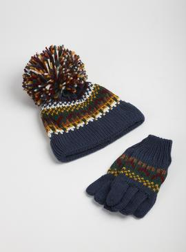 Navy Fair Isle Knitted Hat & Gloves
