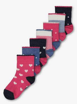 Pink & Blue Heart & Stripe Socks 7 Pack
