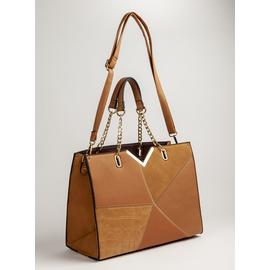 Tan Patchwork Tote Bag - One Size