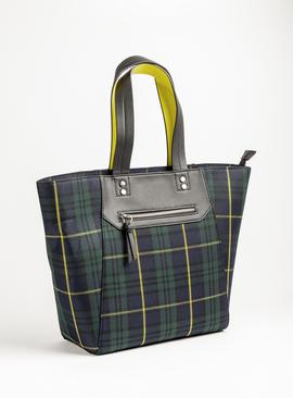 Green Tartan Tote Bag With Neon Handles - One Size
