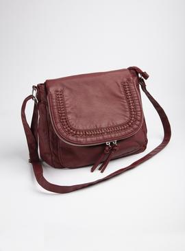 Red Washed Cross Body Bag - One Size