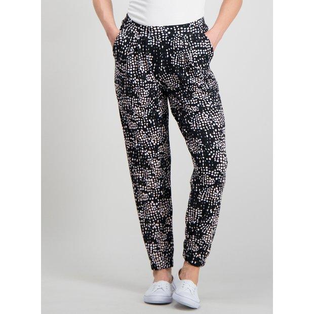 05034e764 Buy PETITE Black Abstract Spot Drapey Jersey Trousers - 12 | Trousers |  Argos