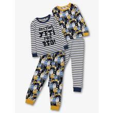 Navy Bear & Stripes Printed Pyjama 2 Pack