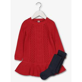 Red Cable Knit Dress & Tights