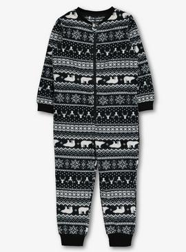 Navy Stag Fair Isle Waffle Fleece All In One