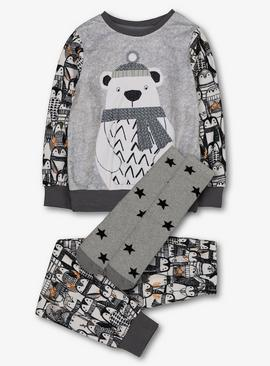 Grey Polar Bear Fleece & Socks