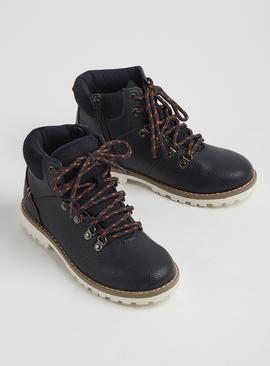 Navy Hiker Style Boots