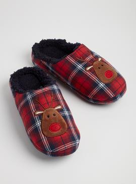 Christmas Red Check Reindeer Slippers