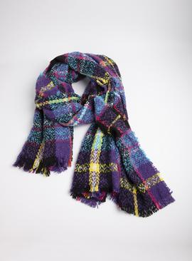 Multicoloured Celtic Clash Brushed Bouclé Woven Scarf - One