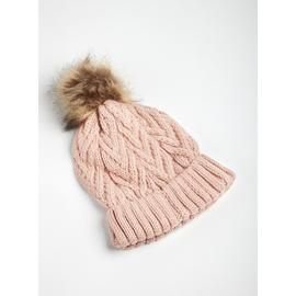 Pink Cable Knit Pom-Pom Hat - One Size