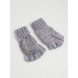 Light Blue Twist Flip-Down Mittens - One Size