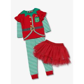Christmas Red Elf Pyjamas With Tutu