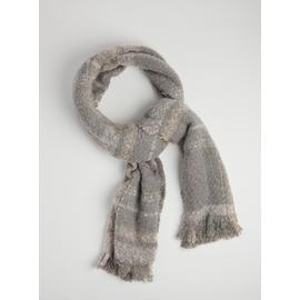 Grey Brushed Bouclé Check Scarf - One Size