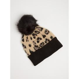 Multicoloured Leopard Print Pom-Pom Hat - One Size