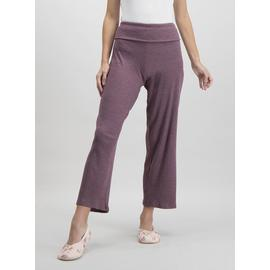 Purple Ribbed Wide Leg Pyjama Bottoms