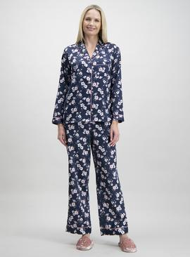 Online Exclusive Navy Satin Floral Print Traditional Pyjamas