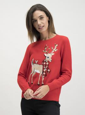 Christmas Red Deer Sequin Jumper