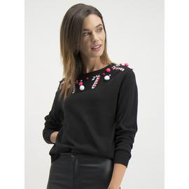 Online Exclusive Christmas Black Candy Cane Jumper