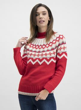 Christmas Red Chunky Fair Isle Yoke Knitted Jumper
