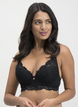 Black Luxury Lace Longline Plunge Bra