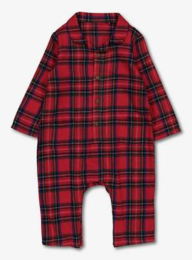 Red Woven Check Romper