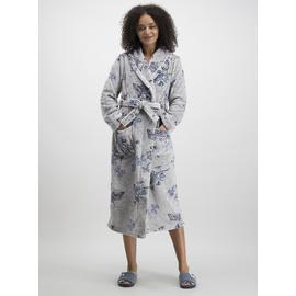 Grey Butterfly Print Long Dressing Gown