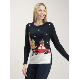 Navy Christmas Sparkle Snow Scene Car Jumper