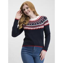 Christmas Navy & Red Candy Cane & Heart Fair Isle Jumper