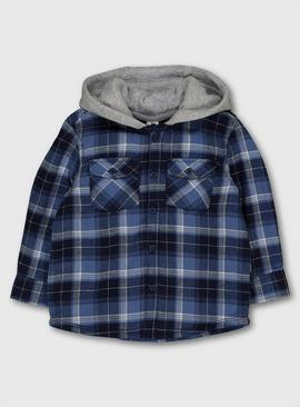 Blue Check Borg Lined Hooded Shirt