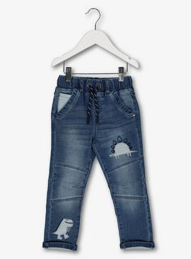 Blue Dino Appliqué Pocket Jeans