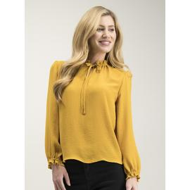 Ochre Yellow High Neck Tie Blouse