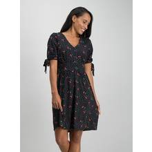 Online Exclusive Black Cherry Print Tea Dress