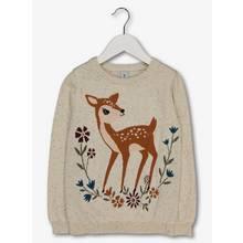Cream Deer Long-Sleeved Jumper