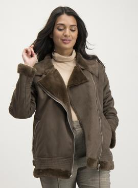 Brown Faux Fur Lined Shearling Jacket