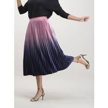 Pink Ombré Velvet Pleated Midi Skirt