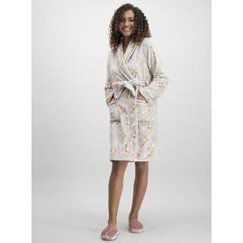 Beige Rabbit Print Short Dressing Gown