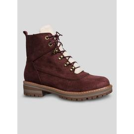 Sole Comfort Burgundy Reptile Print Hiker Boots