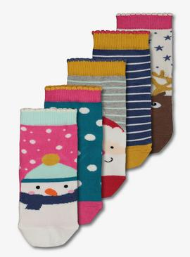 Christmas Multicoloured Sock 5 Pack