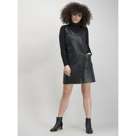 Black Faux Leather Pinafore
