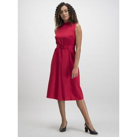 Red Jacquard Spot Dress