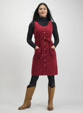 Online Exclusive Red Floral Corduroy Pinafore