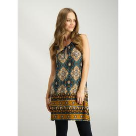Multicoloured Tile Print Tie-Front Tunic