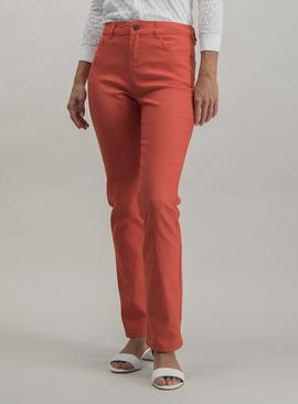 Coral Straight Leg Jeans With Stretch