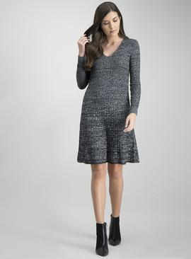 Dark Grey Space Dye Rib Texture Swing Dress