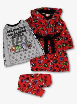 Marvel Avengers Red Pyjamas & Dressing Gown