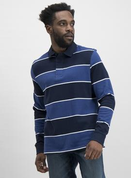 Navy & Blue Stripe Block Stripe Long Sleeve Rugby Shirt