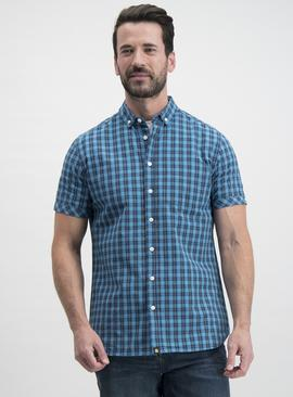 Teal Check Short Sleeve Shirt