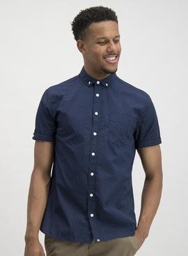 Navy Polka Dot Short Sleeve Shirt
