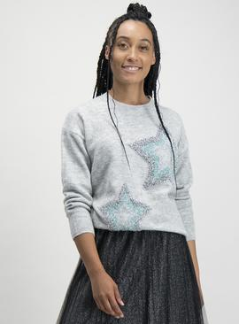 Grey Tinsel Star Jumper